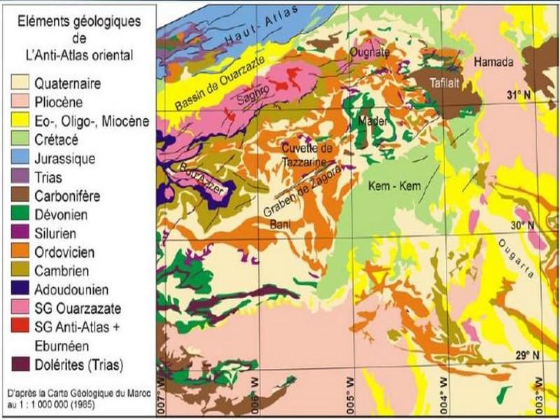 Carte Geologique Afrique Du Sud.Elements Morpho Geologiques De L Anti Atlas Oriental Pour